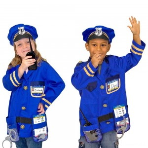 Melissa & Doug Police Officer Role Play Costume Dress-Up Set (8pc), Adult Unisex, Size: Small, Red/Gold Clearance Sale