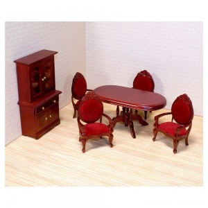 Melissa & Doug Classic Wooden Dollhouse Dining Room Furniture (6pc) - Table, Armchairs, Hutch Clearance Sale