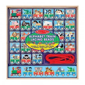 Melissa & Doug Alphabet Train Lacing Beads - 27 Wooden Train Beads, 6 Pattern Cards, and 1 Lace Clearance Sale