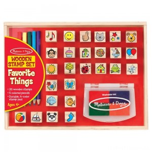 Melissa & Doug Wooden Stamp Set, Favorite Things - 26 Wooden Stamps, 4-Color Stamp Pad Clearance Sale