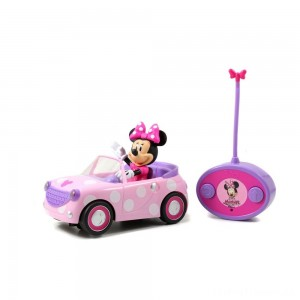"Jada Toys Disney Junior RC Minnie Bowtique Roadster Remote Control Vehicle 7"" Pink with White Polka Dots Clearance Sale"