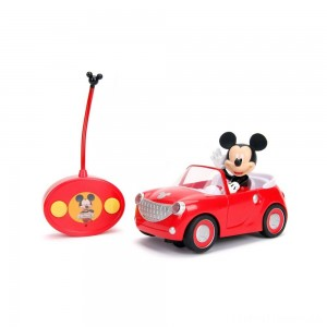 "Jada Toys Disney Junior RC Mickey Mouse Club House Roadster Remote Control Vehicle 7"" Glossy Red Clearance Sale"