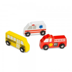 Melissa & Doug Wooden Town Vehicles Set Clearance Sale