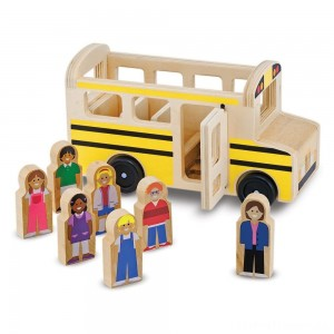 Melissa & Doug School Bus Wooden Play Set With 7 Play Figures Clearance Sale