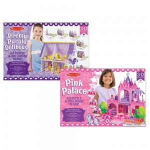 Melissa And Doug Pretty Purple Dollhouse And Pink Palace 3D Puzzle 200pc Clearance Sale