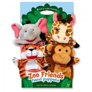 Melissa & Doug Zoo Friends Hand Puppets (Set of 4) - Elephant, Giraffe, Tiger, and Monkey Clearance Sale
