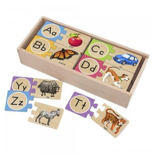 Melissa & Doug Self-Correcting Alphabet Wooden Puzzles With Storage Box 27pc Clearance Sale