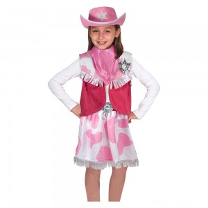 Melissa & Doug Cowgirl Role Play Costume Set (5pcs) - Skirt, Hat, Vest, Badge, Scarf, Adult Unisex Clearance Sale