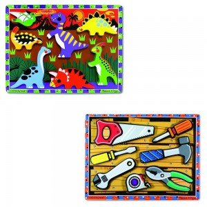 Melissa & Doug Wooden Chunky Puzzles Set - Tools and Dinosaurs 14pc Clearance Sale