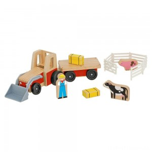Melissa & Doug Farm Tractor Wooden Vehicle Play Set (5pc) Clearance Sale