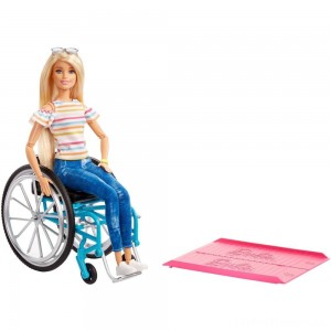 Barbie Fashionistas Doll #132 Blonde with Rolling Wheelchair and Ramp Clearance Sale