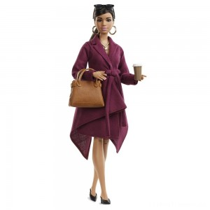 Barbie Signature Styled By Chriselle Lim Collector Doll in Burgundy Trench Dress Clearance Sale