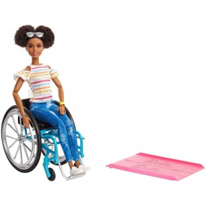 Barbie Fashionistas Doll #133 Brunette with Rolling Wheelchair and Ramp Clearance Sale