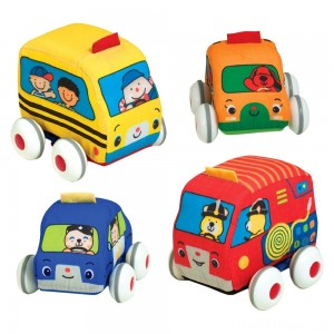 Melissa & Doug K's Kids Pull-Back Vehicle Set - Soft Baby Toy Set With 4 Cars and Trucks and Carrying Case Clearance Sale