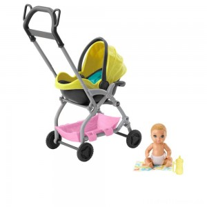 Barbie Skipper Babysitter Inc. Stroller and Baby Playset Clearance Sale