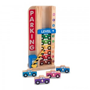 Melissa & Doug Stack & ct Wooden Parking Garage With 10 Cars Clearance Sale