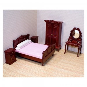 Melissa & Doug Classic Victorian Wooden and Upholstered Dollhouse Bedroom Furniture 6 pc Clearance Sale