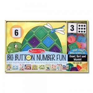 Melissa & Doug Big Button Number Fun Counting and Matching Activity Set Board Game, Kids Unisex Clearance Sale