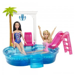 Barbie Glam Pool with Water Slide & Pool Accessories Clearance Sale