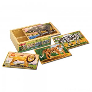 Melissa & Doug Wild Animals 4-in-1 Wooden Jigsaw Puzzles in a Storage Box (48pc) Clearance Sale