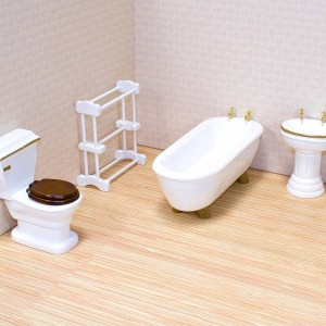 Melissa & Doug Classic Wooden Dollhouse Bathroom Furniture (4pc) - Tub, Sink, Toilet, Towel Rack Clearance Sale