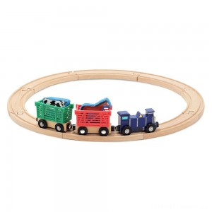 Melissa & Doug Farm Animal Wooden Train Set (12+pc) Clearance Sale