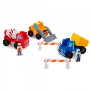 Melissa & Doug Construction Vehicle Wooden Play Set (8pc) Clearance Sale