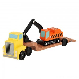 Melissa & Doug Trailer and Excavator Wooden Vehicle Set (3pc) Clearance Sale
