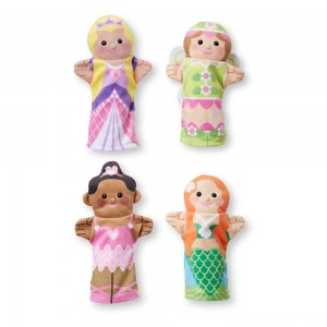 Melissa & Doug Storybook Friends Hand Puppets (Set of 4) - Princess, Fairy, Mermaid, and Ballerina Clearance Sale