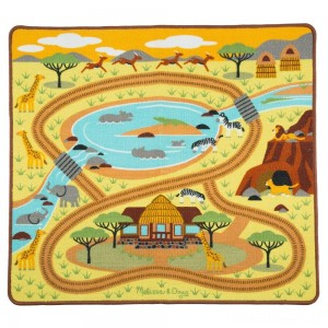 "Melissa & Doug Round the Savanna Safari Rug Activity Rug (39 X 36"") Clearance Sale"
