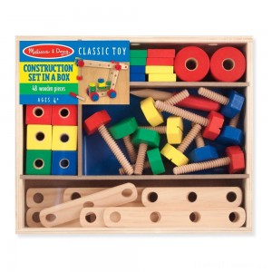 Melissa & Doug Wooden Construction Building Set in a Box (48pc) Clearance Sale