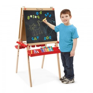 Melissa & Doug Deluxe Magnetic Standing Art Easel With Chalkboard, Dry-Erase Board, and 39 Letter and Number Magnets Clearance Sale