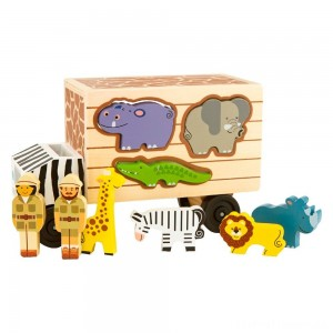 Melissa & Doug Animal Rescue Shape-Sorting Truck - Wooden Toy With 7 Animals and 2 Play Figures Clearance Sale