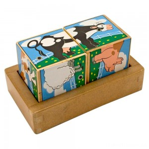 Melissa & Doug Farm Sound Blocks 6-in-1 Puzzle With Wooden Tray Clearance Sale