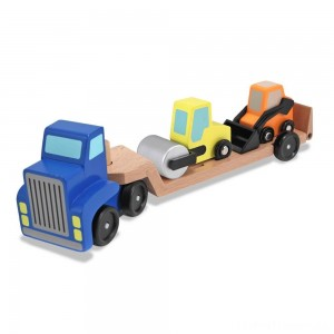 Melissa & Doug Low Loader Wooden Vehicle Play Set - 1 Truck With 2 Chunky Construction Vehicles Clearance Sale