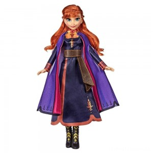 Disney Frozen 2 Singing Anna Fashion Doll with Music Wearing a Purple Dress Clearance Sale