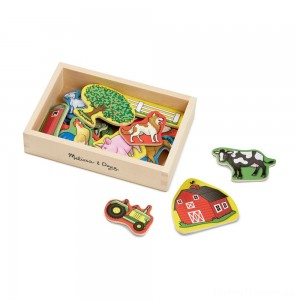 Melissa & Doug Wooden Farm Magnets with Wooden Tray - 20pc Clearance Sale