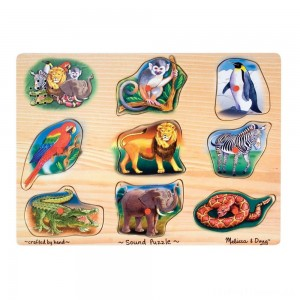 Melissa & Doug Zoo Sound Puzzle - Wooden Peg Puzzle With Sound Effects 8pc Clearance Sale