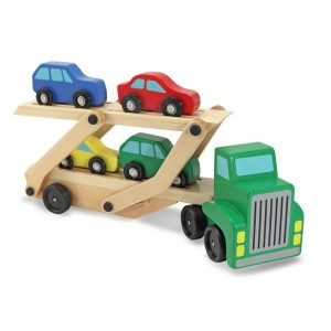 Melissa & Doug Car Carrier Truck and Cars Wooden Toy Set With 1 Truck and 4 Cars Clearance Sale