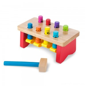 Melissa & Doug Deluxe Pounding Bench Wooden Toy With Mallet Clearance Sale