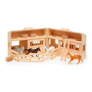Melissa & Doug Fold and Go Wooden Horse Stable Dollhouse With Handle and Toy Horses (11 pc) Clearance Sale