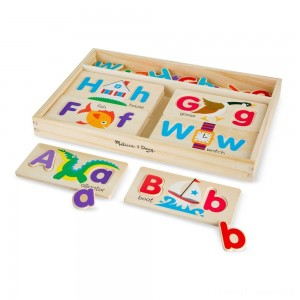 Melissa & Doug ABC Picture Boards - Educational Toy With 13 Double-Sided Wooden Boards and 52 Letters Clearance Sale