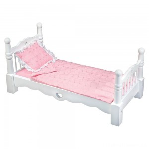 Melissa & Doug White Wooden Doll Bed With Bedding (24 x 12 x 11 inches) Clearance Sale