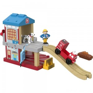 Fisher-Price Thomas & Friends Wood Eco Rescue Firehouse Set Clearance Sale