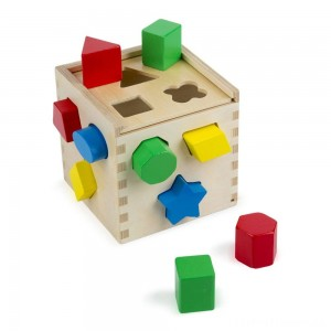 Melissa & Doug Shape Sorting Cube - Classic Wooden Toy With 12 Shapes Clearance Sale