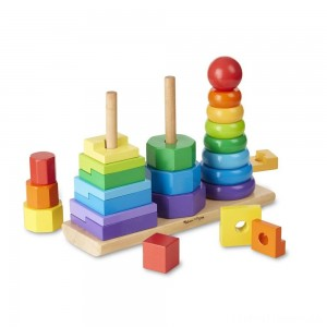 Melissa & Doug Geometric Stacker - Wooden Educational Toy Clearance Sale