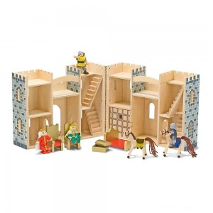 Melissa & Doug Fold and Go Wooden Castle Dollhouse With Wooden Dolls and Horses (12pc) Clearance Sale