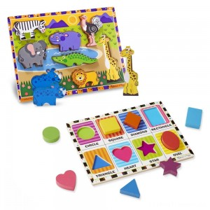 Melissa & Doug Wooden Chunky Puzzle Set - Wild Safari Animals and Shapes 16pc Clearance Sale