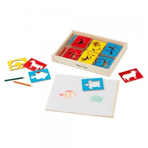 Melissa & Doug Wooden Stencil Set With 27 Themed Stencils and 4 Pencils Clearance Sale