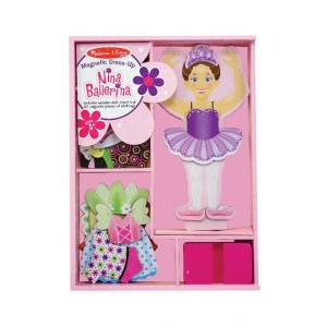 Melissa & Doug Deluxe Nina Ballerina Magnetic Dress-Up Wooden Doll With 27pc of Clothing Clearance Sale